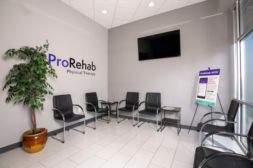 a picture of the ProRehab waiting room built by Truesdell Custom Builders