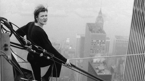 Philippe Petit, as he prepares to walk the wire.