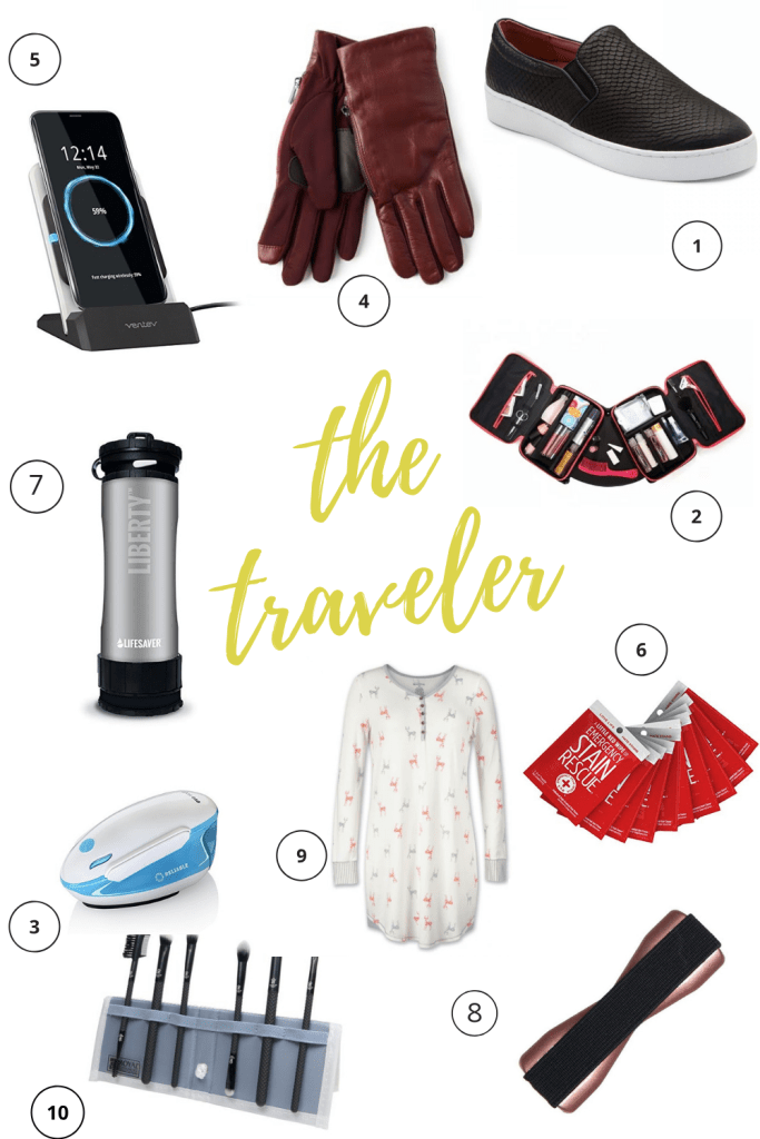 When buying gifts for travelers, keep in mind that while regular travel may seem glamorous, it can be anything but if you don't have the right stuff. So, to help your traveling friend enjoy their adventures that much more, I'm sharing 10 of my favorite things to pack for traveling as gift inspiration. #giftguide #giftideas #2018giftinspo #traveler #wanderlustgift