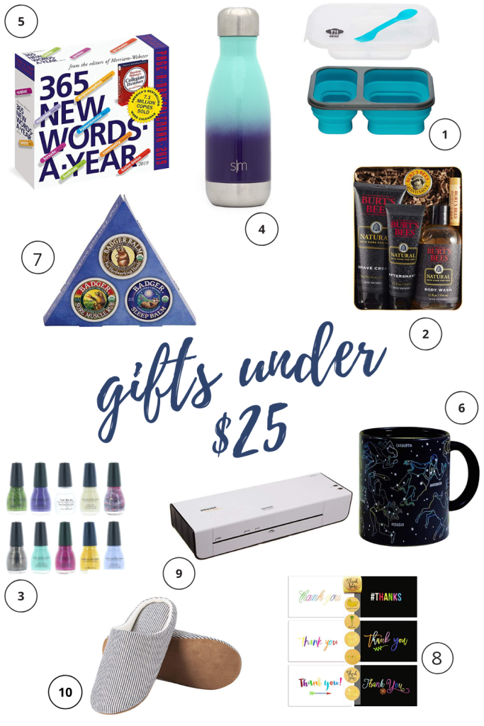 Whether you're looking for teacher gifts, hostess gifts, or co-worker gifts, these gifts under $25 have you covered and checking off your list in no time. The perfect gifts on a budget really do exist! #giftsonabudget #giftguide #bestgifts #2018giftguide