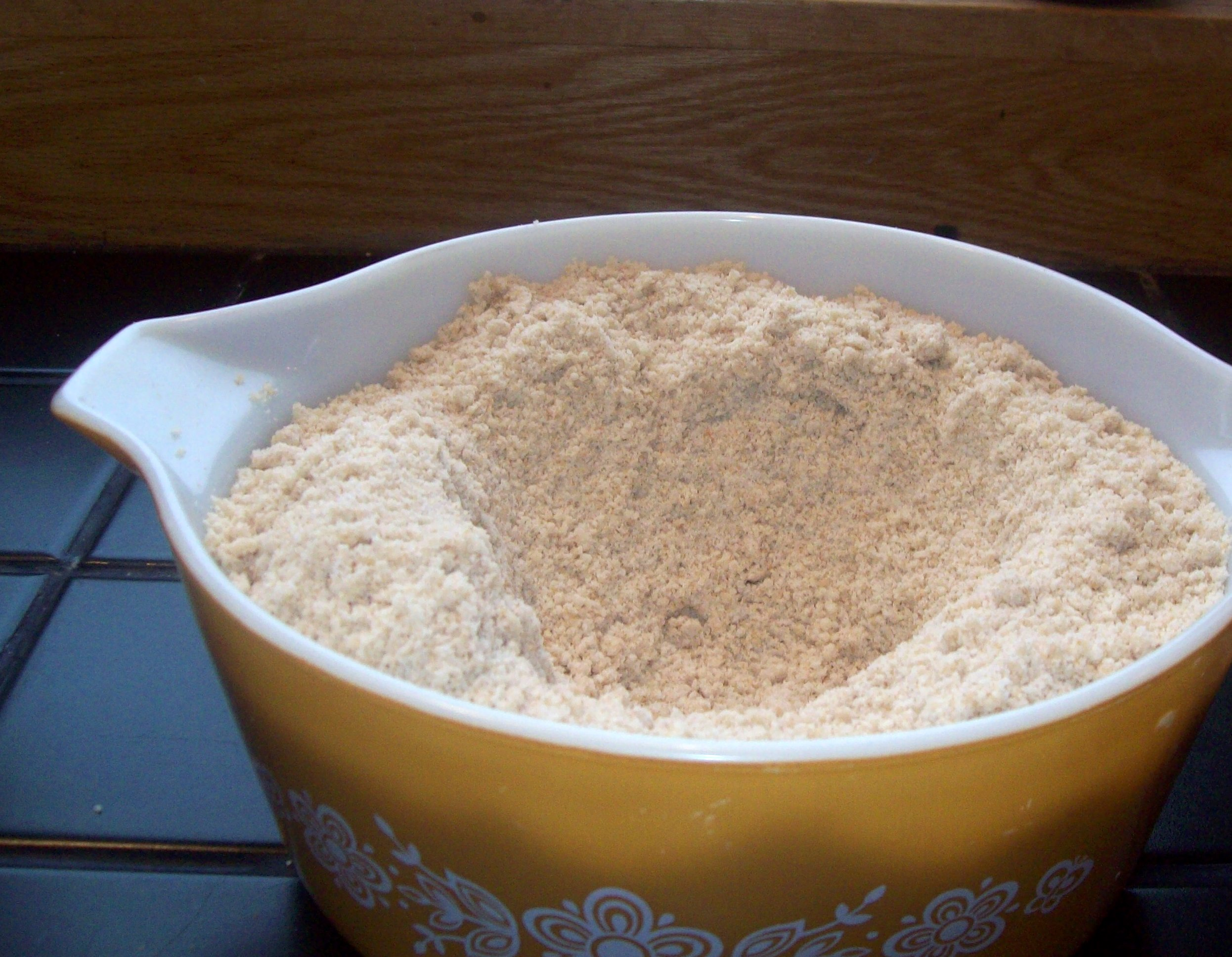 The flour mix, make a well.
