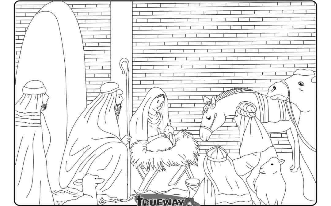 Wise men give their gifts to Jesus – Free coloring page