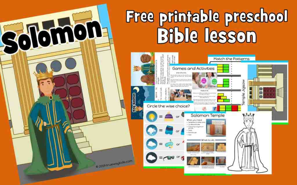 Learn about Solomon, his gift of wisdom and building the temple. Free printable preschool Bible lesson. Included worksheets, coloring pages, crafts, lesson and more.