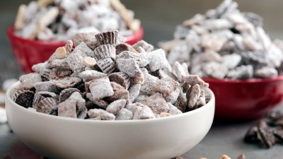 A bowl of puppy chow