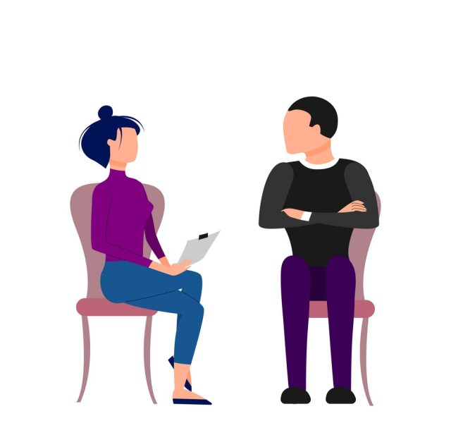 Scene of caucasian female therapist consulting male patient. Flat style stock vector illustration