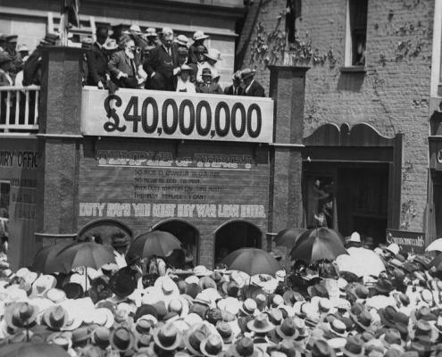 Truii data visualization, analysis and management Large crowd at a fundraising rally in Brisbane during World War I
