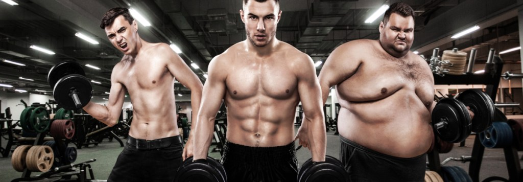 Ectomorph, mesomorph and endomorph . Before and after result. Group of three young sports men - fitness models holds the dumbbell in gym. Fat, fit and athletic men. explaining how different body types should approach a muscle building diet