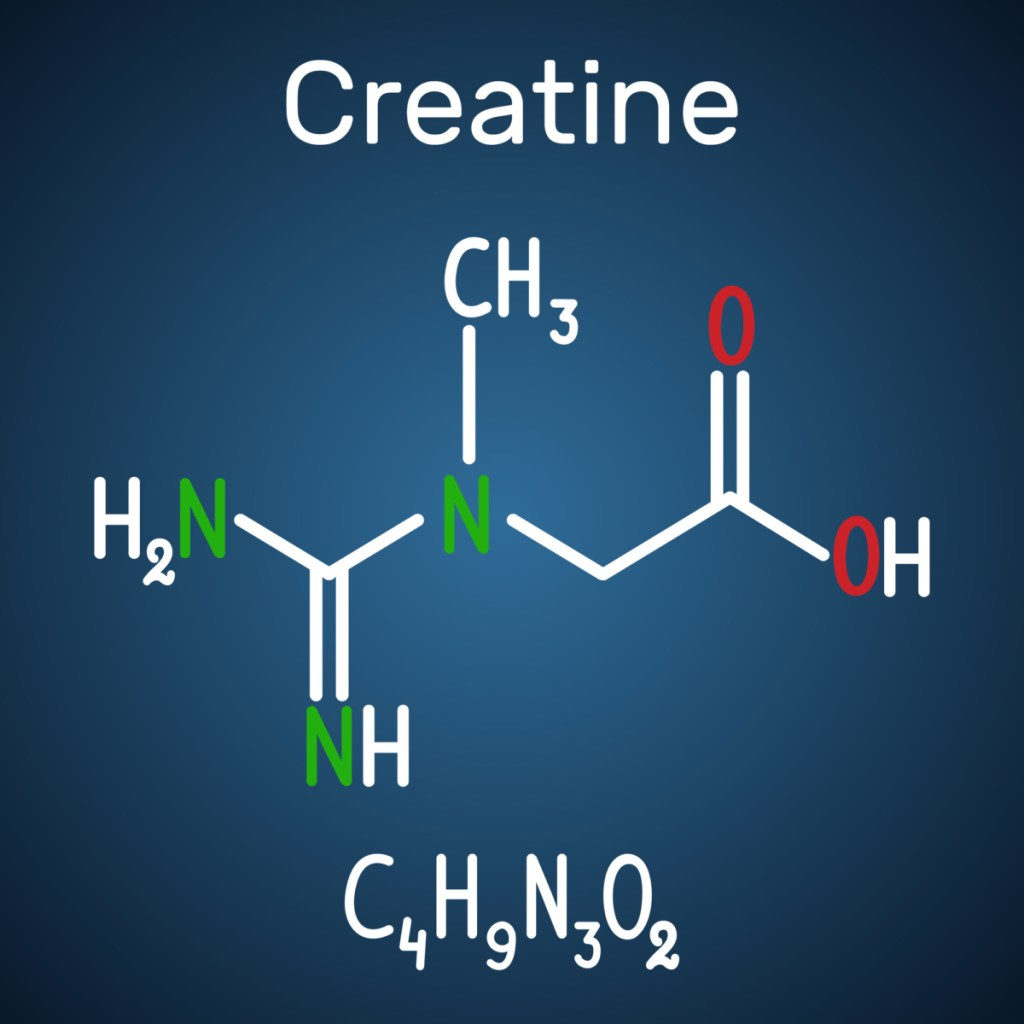 Creatine molecule. Structural chemical formula and molecule model on the dark blue background,. The best legal steroid alternative