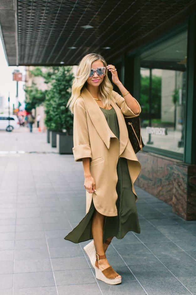 camel vest and olive dress truly destiny