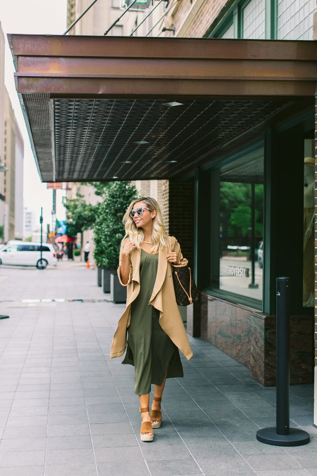 camel and olive spring look