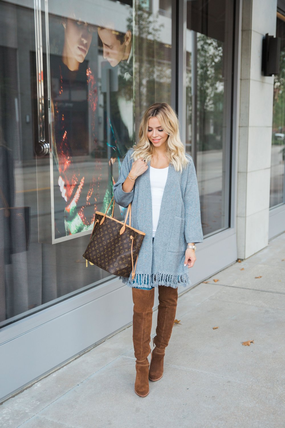 A comfortable and stylish maternity look! I recently ordered these maternity jeans and I am hooked! The fringe cardigan is so soft!