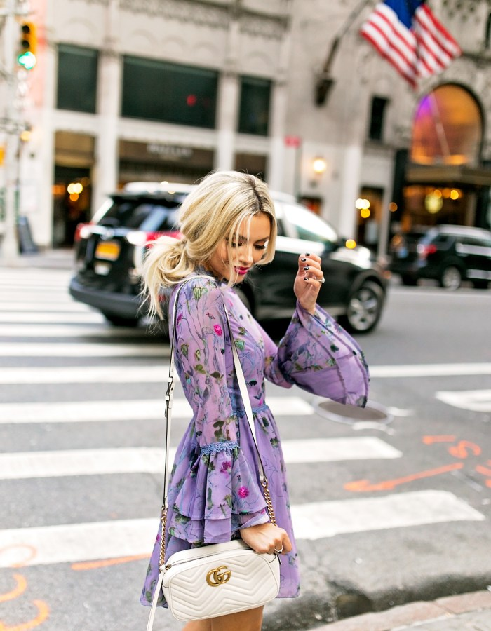 Purple Floral Dress With Bell Sleeves