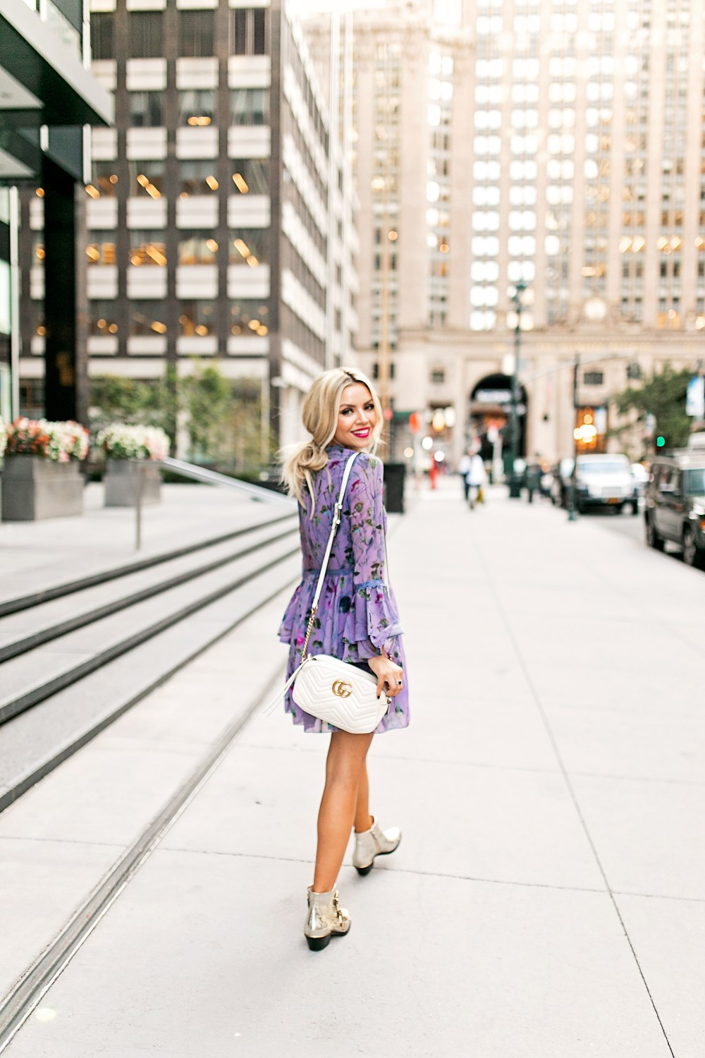 Perfect fall floral dress with bell sleeves | Dress it up or go casual with booties.