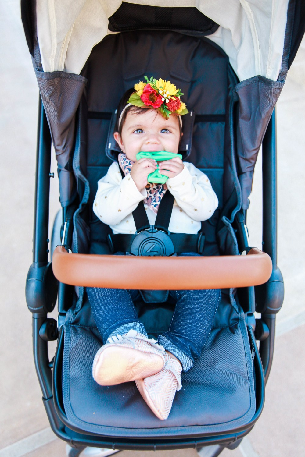 My sweet baby girl rocking a floral headband and leopard print bib! Those baby mocassins too!