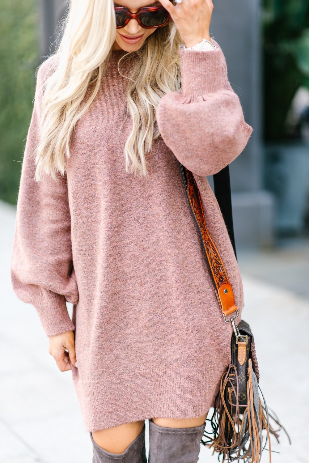 This sweater dress is super comfortable and perfect for fall! It comes in mauve and other gorgeous colors!