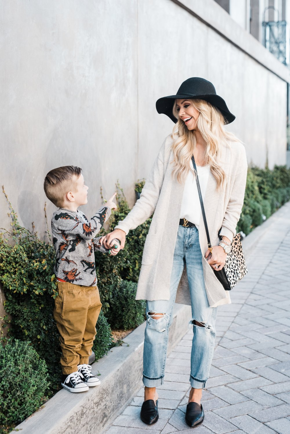 Toddler Boy fashion and a comfortable mom outfit! We are ready for a day out for some mother-son bonding time!