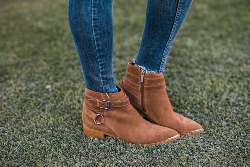 How cute are these booties! The brown color is the perfect neutral and they go with almost any outfit! I love the buckle details on the edge!