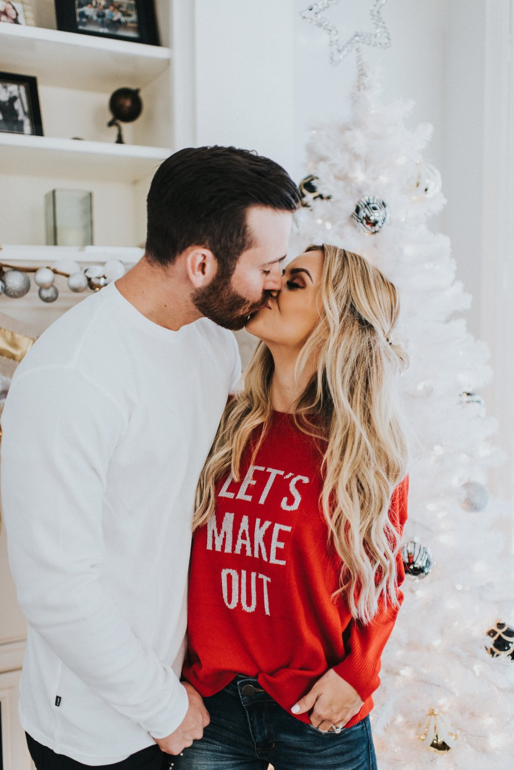 """The perfect Holiday lets make out sweater to wear on date nights or holiday parties! Date you spouse even after you are married and have kids! This """"Let's Make Out"""" sweater is the cutest! #trulydestiny #holidayoutfits #dateyourspouse"""