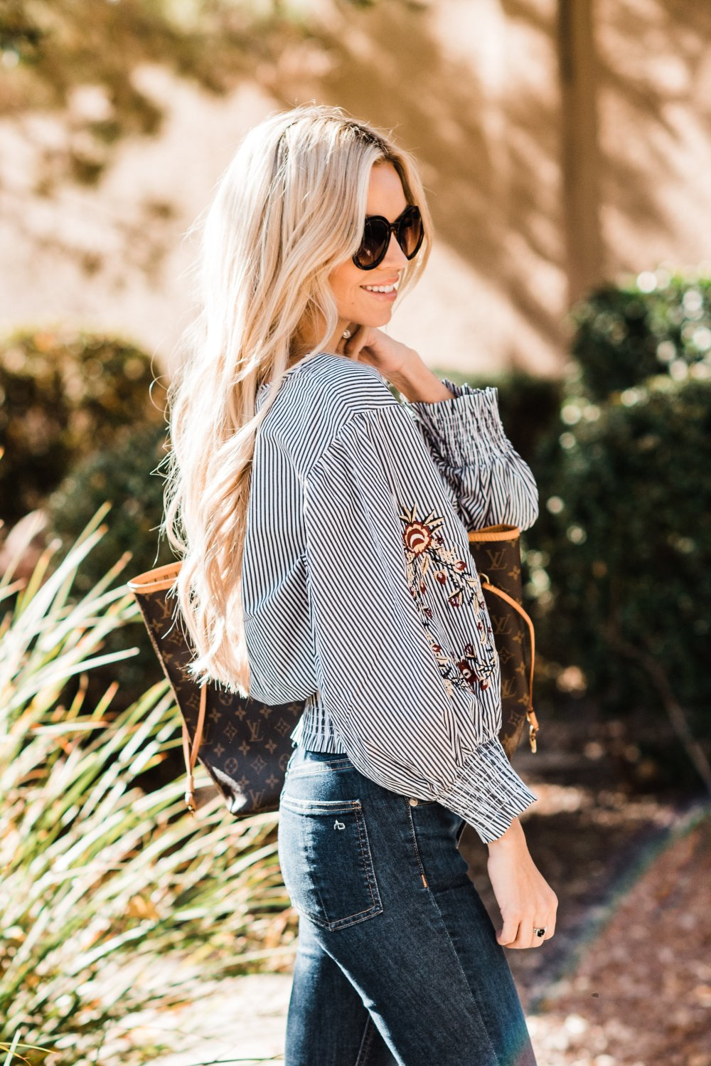 Loving this pin-stripe, embroidered top to transition into spring fashion! These platform shoes are very in style right now and they are so comfortable. I can't wait for spring and to start diving into the new women's fashion trends! I can see wearing this top in various ways! I love it when a piece can do that! #trulydestiny #womensfashion #springfashion #embroidered
