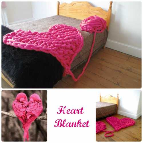 arm knitted heart blanket
