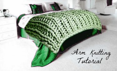 arm knitting blanket tutorial
