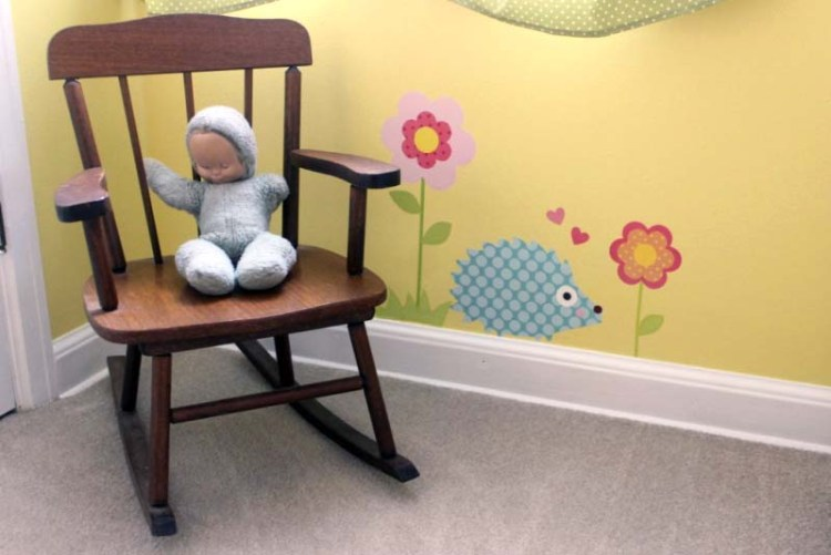 Wall vinyl decorations for baby nursery, using heirloom items to decorate baby's room