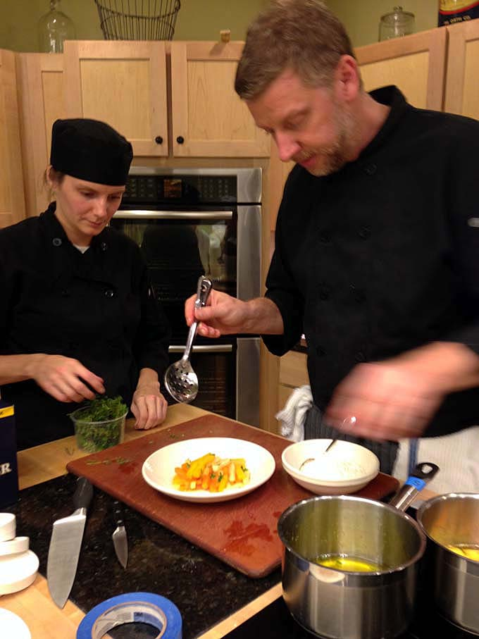 Chef Dave and Assistant Chef Sarah at Braise Culinary School