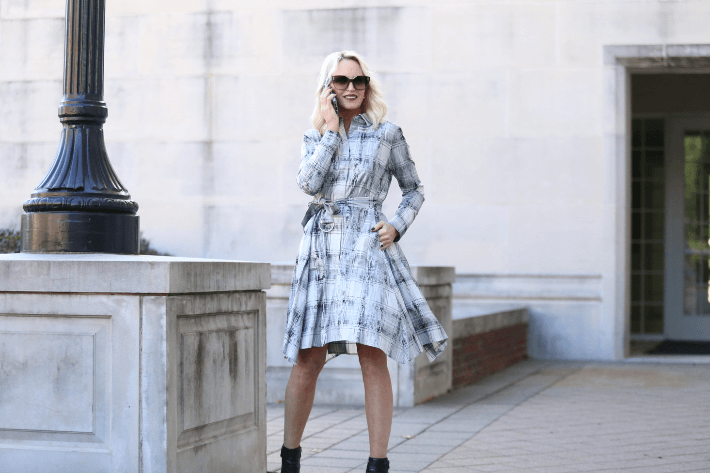 Dallas fashion blogger 'Truly Megan' channels Meghan Markle in Worth New York silver icy plaid shirt dress from the Winter 2018 collection.