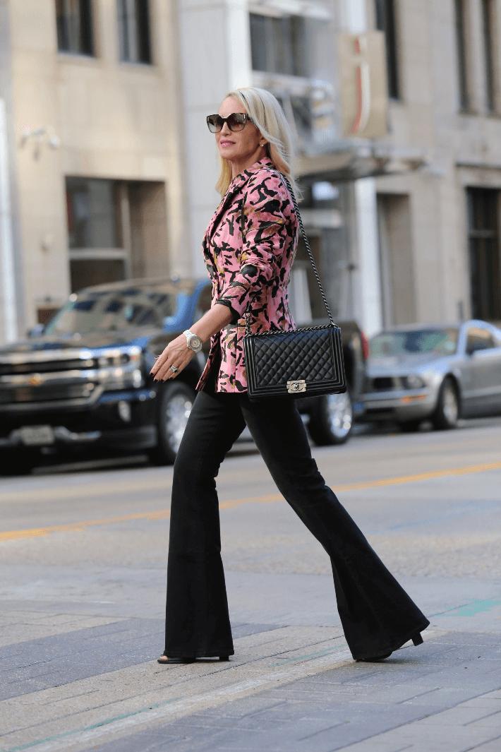 f84139b41b0 Dallas fashion blogger Megan Saustad of  Truly Megan  wearing Topshop pink  jacquard animal print