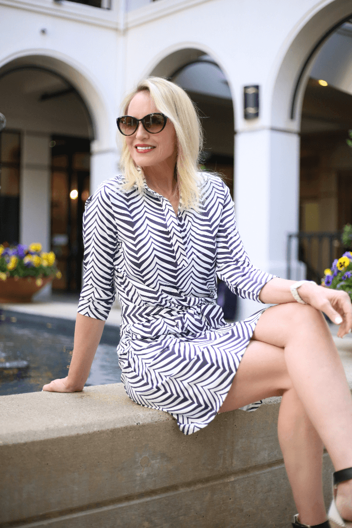 Fashion blogger Megan Saustad wearing Ellie Kai dress.