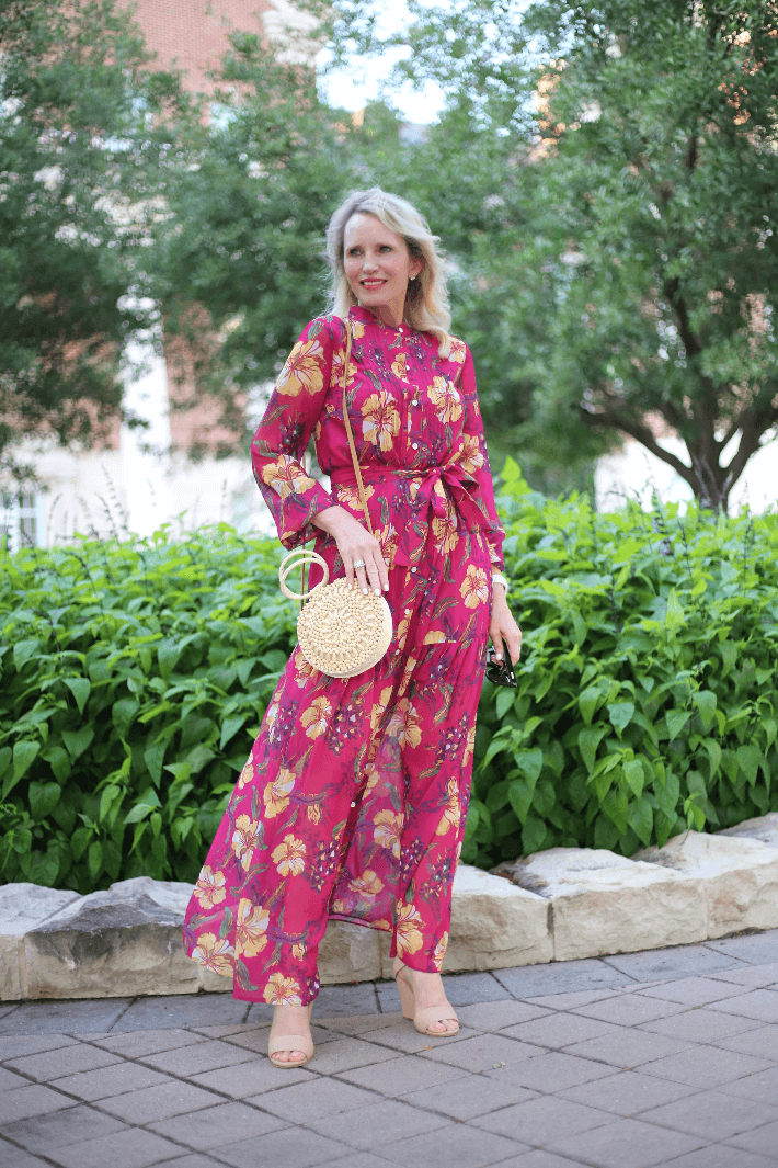 Dallas fashion blogger Megan Saustad wearing tropical print maxi dress from W by Worth Spring 2019 collection.