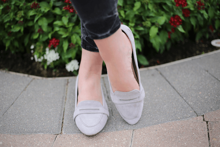 Vionic Shoes Savannah Flats in Light Grey Suede.