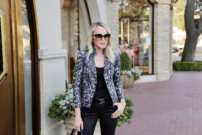 Dallas blogger wearing Clara Sunwoo Liquid Leather Jacket in Grey Cheetah.