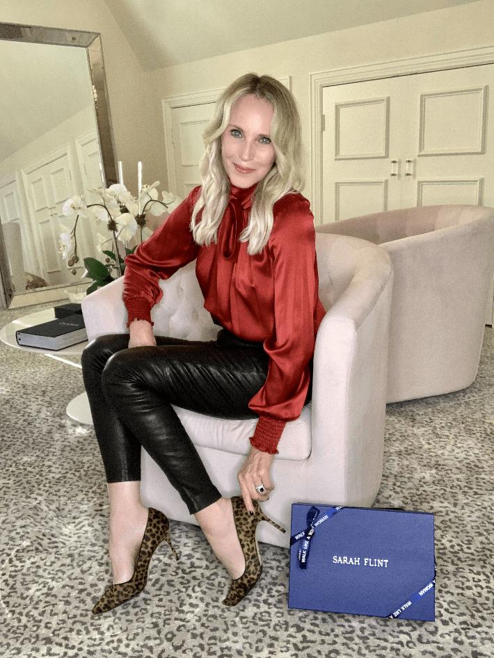 Dallas fashion blogger Megan Saustad wears Sarah Flint Perfect Pump in Leopard Calf Hair.