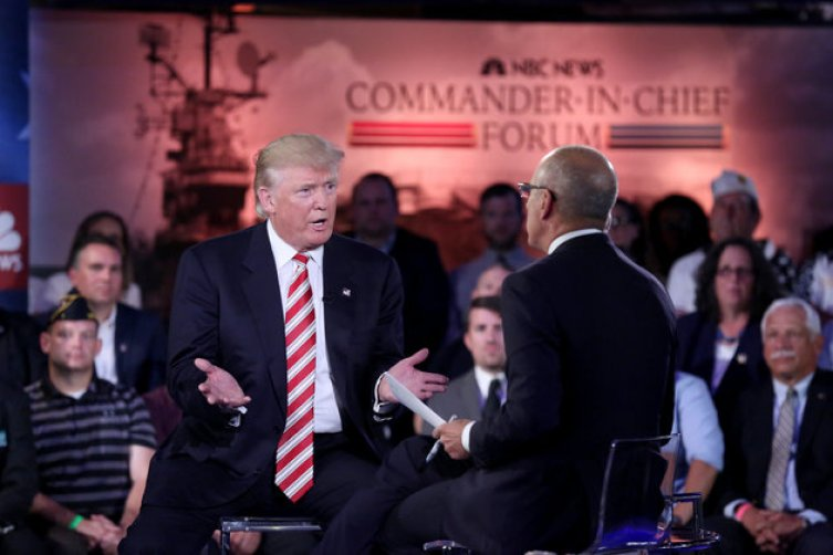 NBC NEWS - ELECTION COVERAGE -- Commander-In-Chief Forum -- Pictured: (l-r) Presidential Candidate Donald Trump and Matt Lauer on Wednesday, September 7, 2016 on the Intrepid in New York, NY -- (Photo by: Heidi Gutman/NBC News/NBCU Photo Bank via Getty Images)