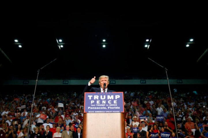 Republican presidential candidate Donald Trump gives a thumbs up as he speaks during a rally, Friday, Sept. 9, 2016, in Pensacola, Fla. (AP Photo/Evan Vucci)