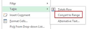 Tabla de Excel - Convertir a Rango Excel