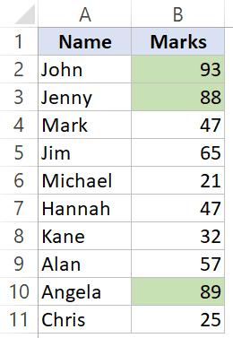 Ordenar por un solo color en Excel - Dataset