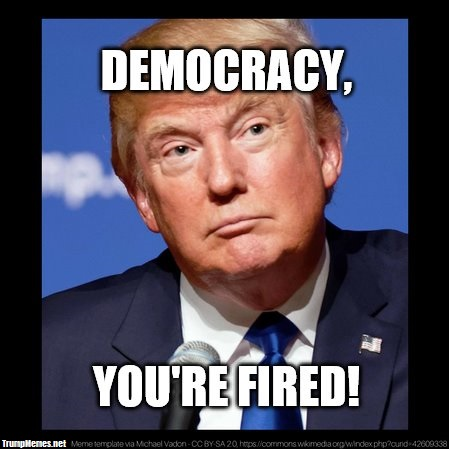 "Photo of Donald Trump with the words ""Democracy, You're Fired"""