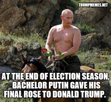 Vladimir Putin barechested on horseback with a rose