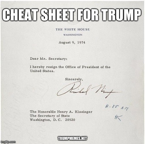 Nixon's resignation letter as a meme