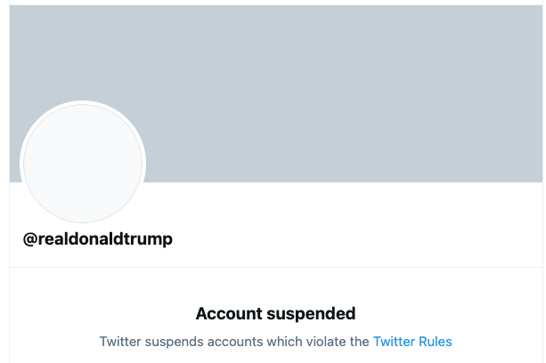 Screenshot of Trump's Twitter suspension