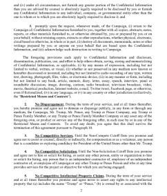Trump's Post Service Agreement : NDA Page 2