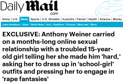 Screenshot of a Daily Mail headline about Anthony Weiner