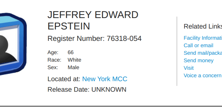 Inmate record for Epstein at New York MCC