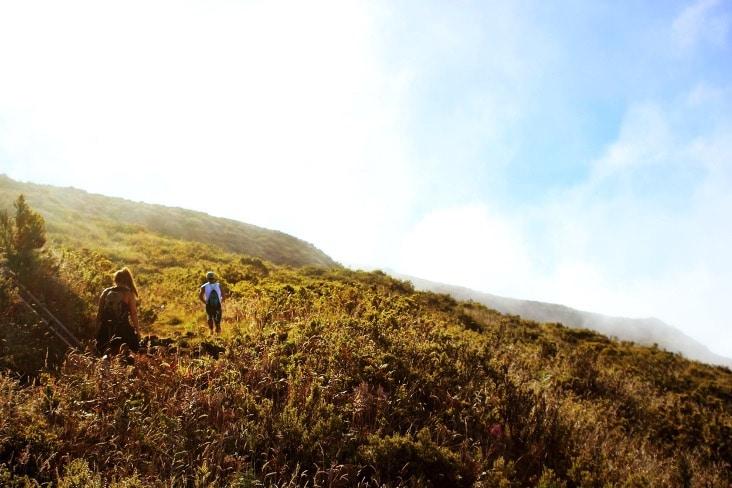 Walking along a path through mountains