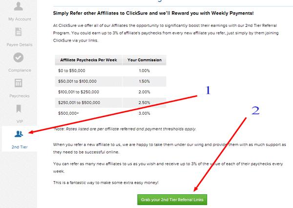 clicksure affiliate program links
