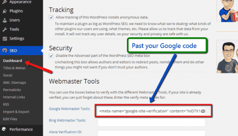 adding Google webmaster code