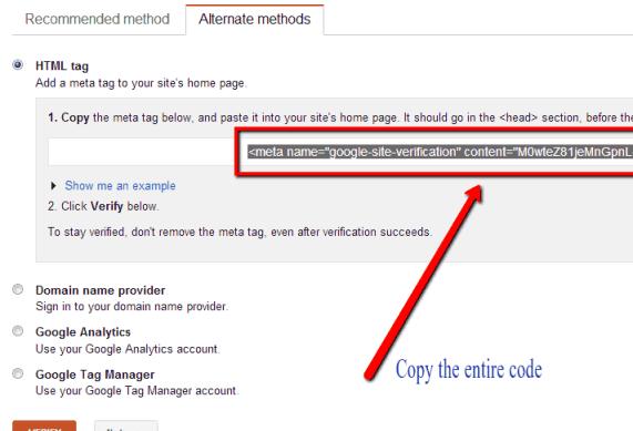 Verify WordPress with HTML tag