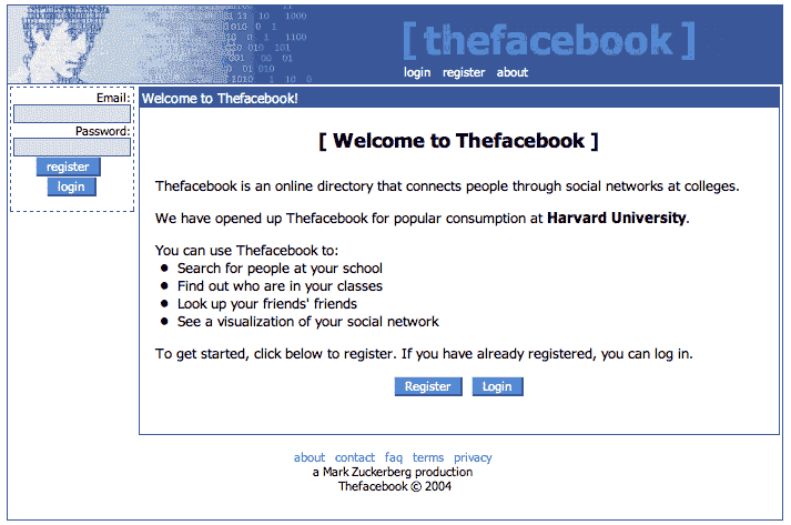 Facebook first home page